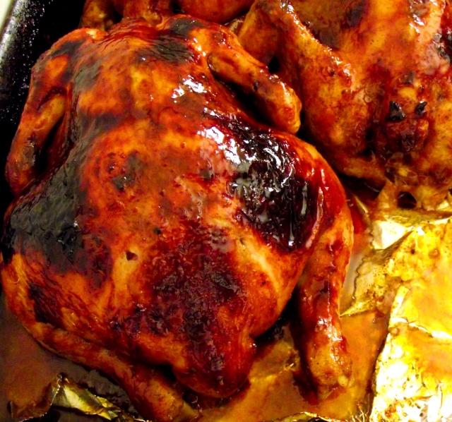 pollo asado con mala fe con papas y batatas