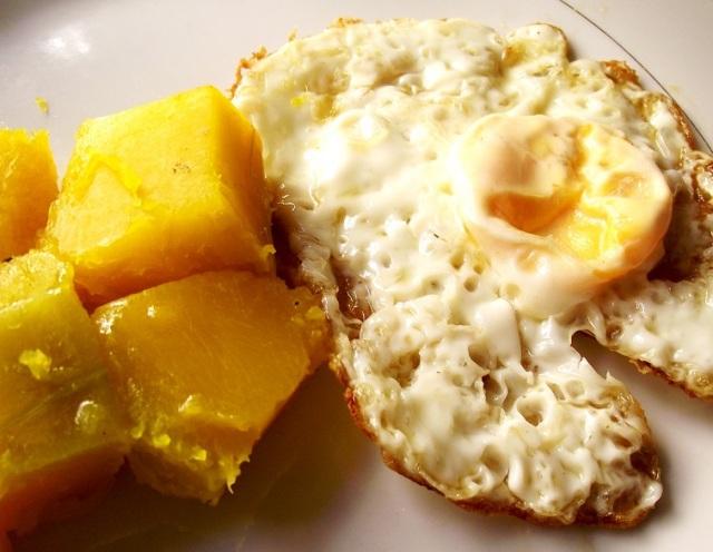 Auyama con huevo frito